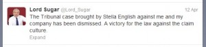 Lord Sugar Tweet
